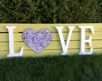 SALE Wood Pallet Sign with String Art LoVe Home Decor