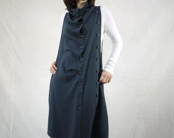 Funky Boho Sleeveless Double Breasted Dark Blueish Charcoal Cotton Mix Polyester Jersey Tunic Dress Women Tops Size 0 To Size 14