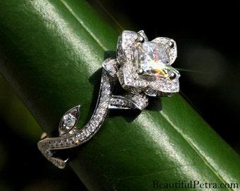 blooming work of art flower rose lotus princess cut diamond engagement wedding ring 14k - Rose Wedding Ring