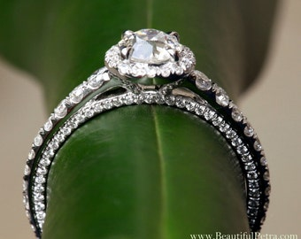 Round OLD and NEW - 1.81 carats total - Old Mine Cut Center Diamond - Halo - Antique Style - Diamond Engagement Ring 14K - Bph031