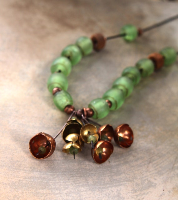 Copper Bells and Green Globes Necklace Old Nepal Glowing Green Glass Beads with Dangles of Hammered Copper and Brass Bells