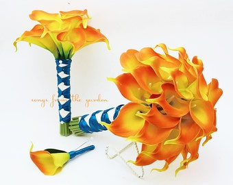 Real Touch Calla Lily Wedding Package Bridal Bouquet Toss Bouquet Groom's Boutonniere Flame Orange Teal Ribbon - Customize for your Colors