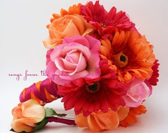 Bridal Bouquet Real Touch Gerbera Daisies, Real Touch Roses in Hot Pink and Orange with Groom's Boutonniere - Customize for Your Colors