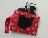 Wristlet Zipper Pouch, Red, Black, Ohio Love, Ohio Pride, Miami University, University of Cincinnati, Coin Purse, Make Up Bag, Small Purse