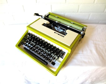 Lime Green Montgomery Ward Escort 33 Typewriter - Winifred - Professionally Serviced (Olivetti Lettera 32)