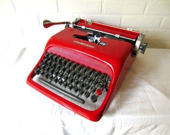 Cherry Red Olivetti Studio 44 Vintage Manual Typewriter - Hecate - Professionally Serviced