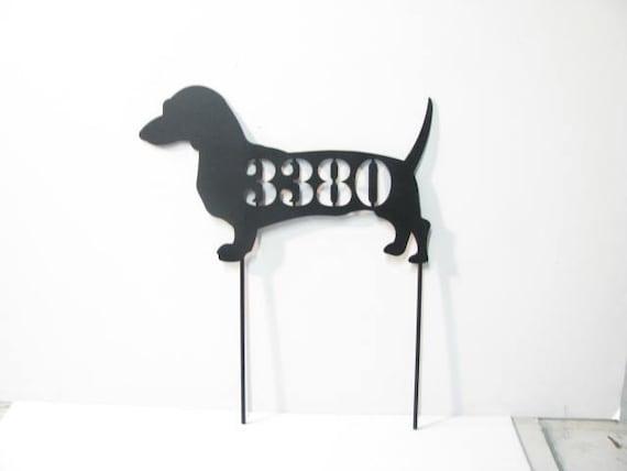 Dachshund Gift Address Sign Metal Custom Dog Yard Art Silhouette