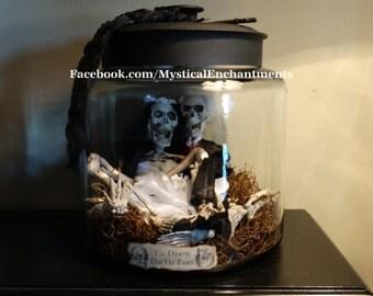 Wedding Halloween Skeleton Jar Apothecary LARGE Jar of Skeleton Bones