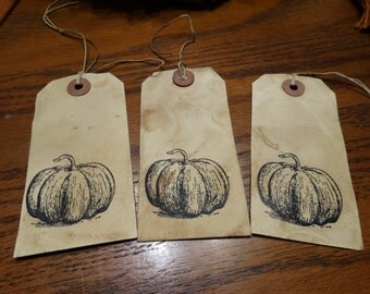 SET of 3 Large Primitive Autumn Fall Pumpkin Hang Tags