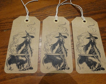 SET of 3 X Large Halloween Witch and Cauldron Hang Tags