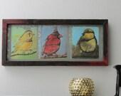 original art - Foothills Gathering - wall art - mixed media original - barn wood frame
