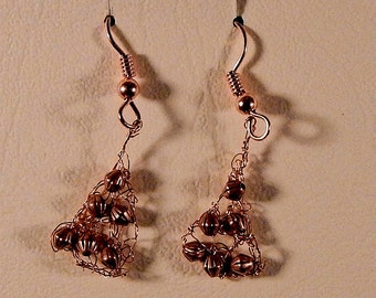 Copper Crochet Metal Dangle Earrings -  Handmade