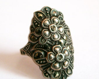 Antique Art Deco Sterling Marcasite Flowers Ring