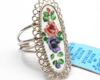 Sterling Silver Floral Enamel Ring