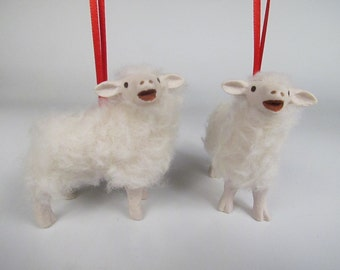 Colin's Creatures Porcelain and Wool Bovska  Lamb Baaing Ornament