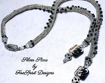 Silver Stars- handmade necklace- OOAK necklace- beadwoven necklace- beadweaving- handmade jewelry- woven rope necklace- gift for her