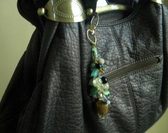 Gold, Brown, Green, Multi-Colored Elegant Purse Charm