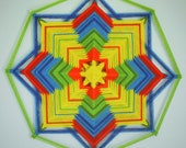 Happy and Free, an 18 inch, 8-sided Ojo de Dios, In Stodck, ready to ship