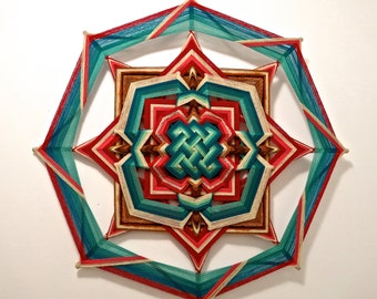 Creating Harmony, a 36 inch Mandala, with a celtic mandala design inlaid in the center, by Inga Savage