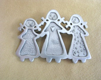 Pewter Three Sisters Textured Pin Brooch by Cynthia Webb