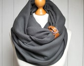 CHUNKY SCARF, extra CHUNKY fleece Infinity Scarf with leather cuff, winter fashion infinity scarf, charcoal snood