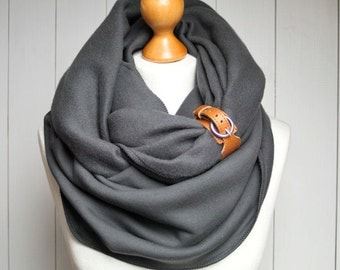 CHUNKY SCARF, extra CHUNKY infinity Scarf with leather cuff, winter fashion infinity scarf, charcoal snood, hooded scarves