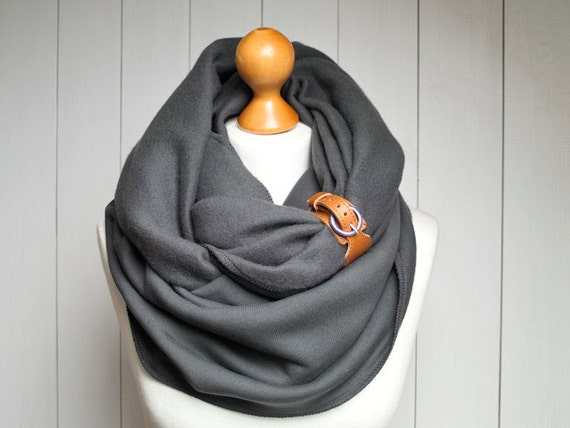 chunky infinity jersey scarf leather