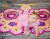 CROCHET PATTERN Cathy the Butterfly Rug Nursery Mat Carpet PDF Crochet Pattern with Instant Download
