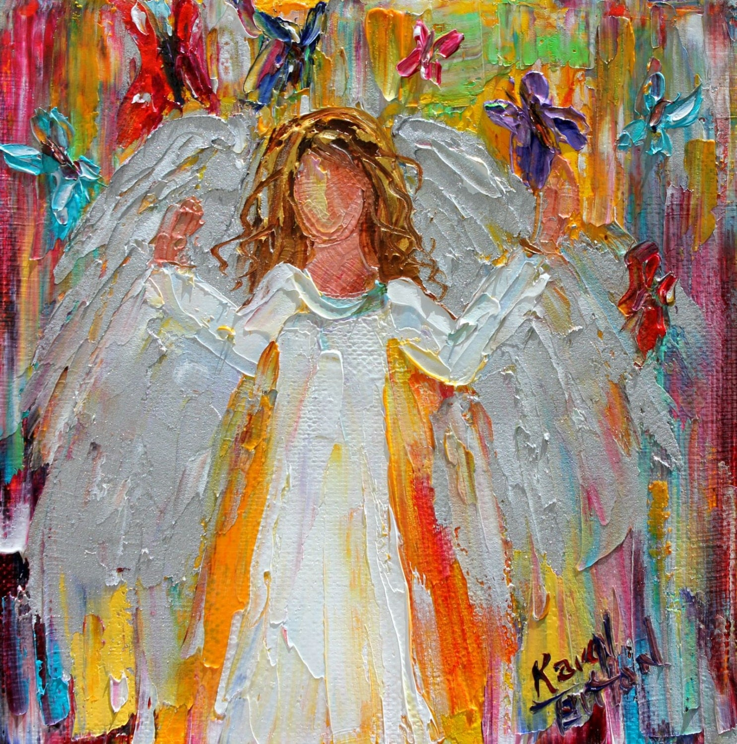 Original oil painting angel and butterflies 6x6 palette for Angel paintings for sale