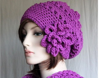 Crochet Slouchy Hat   womens beanie  large beautiful flower   winter hat  Fashion  Accessories  Valentines Gifts for her