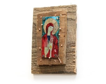 Byzantine Inspired Image Transfer Icon with Decorative Nails in Salvaged Wood