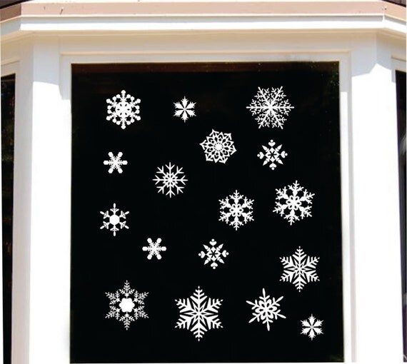 christmas snowflake assortment holiday decal window decals. Black Bedroom Furniture Sets. Home Design Ideas