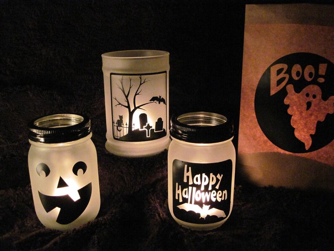 Six Assorted Halloween Decals For Luminaries Glass Block Decals - Halloween vinyl decals for glass blocks