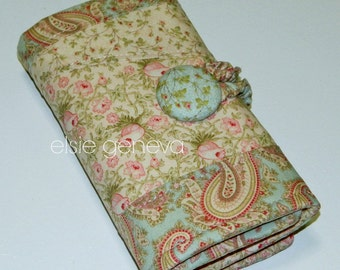 Vintage Rose Pink & Blue Paisley Crochet Hook Organizer Case with Zipper Pocket Amour Clover Soft Grip Tulip Polymer Clay Tunisian