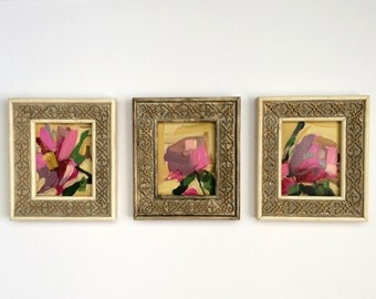 Pink Peony no. 25 26 and 27 Original Floral Oil Paintings by Angela Moulton in Antique Frames