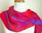 Hand Painted Silk Scarf - Summer Fashion Scarves - Red Aurora