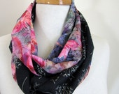Floral Infinity Scarves - Reversible - Pure Cotton Scarf - Australia - Pink and Black