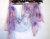 Large Summer Wrap - Lavender Floral Stole - Cotton