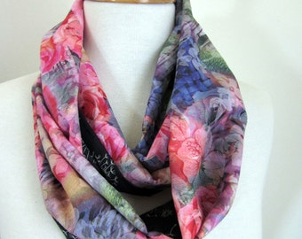 Cotton Infinity Scarves - Reversible - Floral Scarf - Under 30