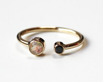 Faceted Opal and black diamond cuff ring (14K gold)