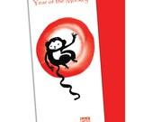 Year of the Monkey Card, Happy New Year 2016, Chinese New Year, Zen Chinese Zodiac, japanese style, lucky red envelope, hóngbāo, oshogatsu