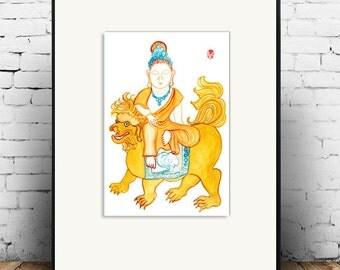 Buddha, Manjusri, Monju Buddha of Wisdom,  Zen Art, Brush Painting Original, Buddhist art, zen illustration, zen decor, tao, japanese art