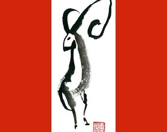 Year of the Sheep, Ram Goat, Zen Chinese New Year 2015 Shengxiao red evelope, Original Zen Sumi ink Painting, zen decor, baby shower present