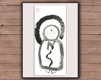 Zen Jizo Buddha Painting, Buddhist art, Zen Brush Sumi-e Ink Painting, Original Fine Art for zen decor, spiritual art, childs room, yoga art