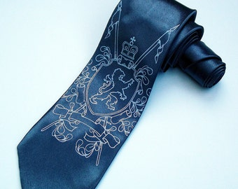 Men's Necktie - Coat of Arms - Silkscreened Premium Quality Tie - Gift Wrapped - Choose color and quantity