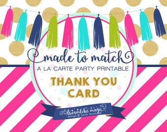 Made to Match Party Printable- Thank You Note Card