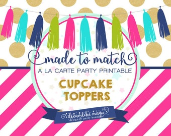 Made to Match Party Printable- Personalized Party Circles Cupcake Toppers