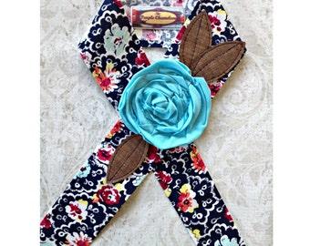 Navy Blue Floral Headwrap Flower Head Wrap Navy Blue Burgundy Orange Mint Green White Tichel Sash Headcover Tie on Headband