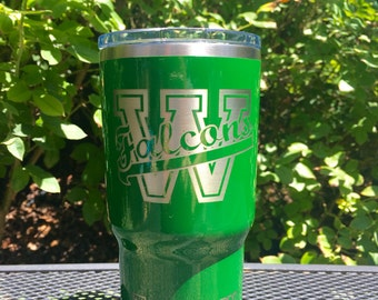 Custom Woodinville Falcons or school of choice RTIC, YETI vacuum insulated tumbler, powder coated and laser engraved/etched
