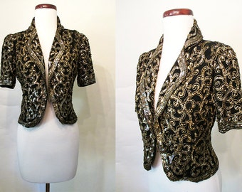 Dazzling 1930's Black with Gold Sequin Bolero Cocktail Jacket Old Hollywood Glamour Starlet Party Jacket Size-Small-Medium